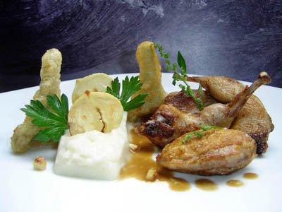 Caille rôtie, mousseline de topinambours, tempura d'artichauts et chips de châtaignes dans 3 - PLATS cailletopinamboursartichauts