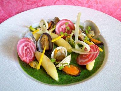 Marinière de coquillages, gnocchis et copeaux de légumes printaniers dans 2 - ENTREES coquillagegnocchislegumesprintaniers