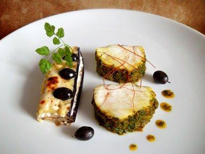 Lotte à la Chermoula, pressé d'aubergines à la féta et olives noires dans 3 - PLATS lottechermoulaaubergine