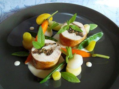 Roulés de poulet aux champignons, crème à la verveine, légumes vapeur dans 3 - PLATS pouletcremeverveinelegumesvapeur